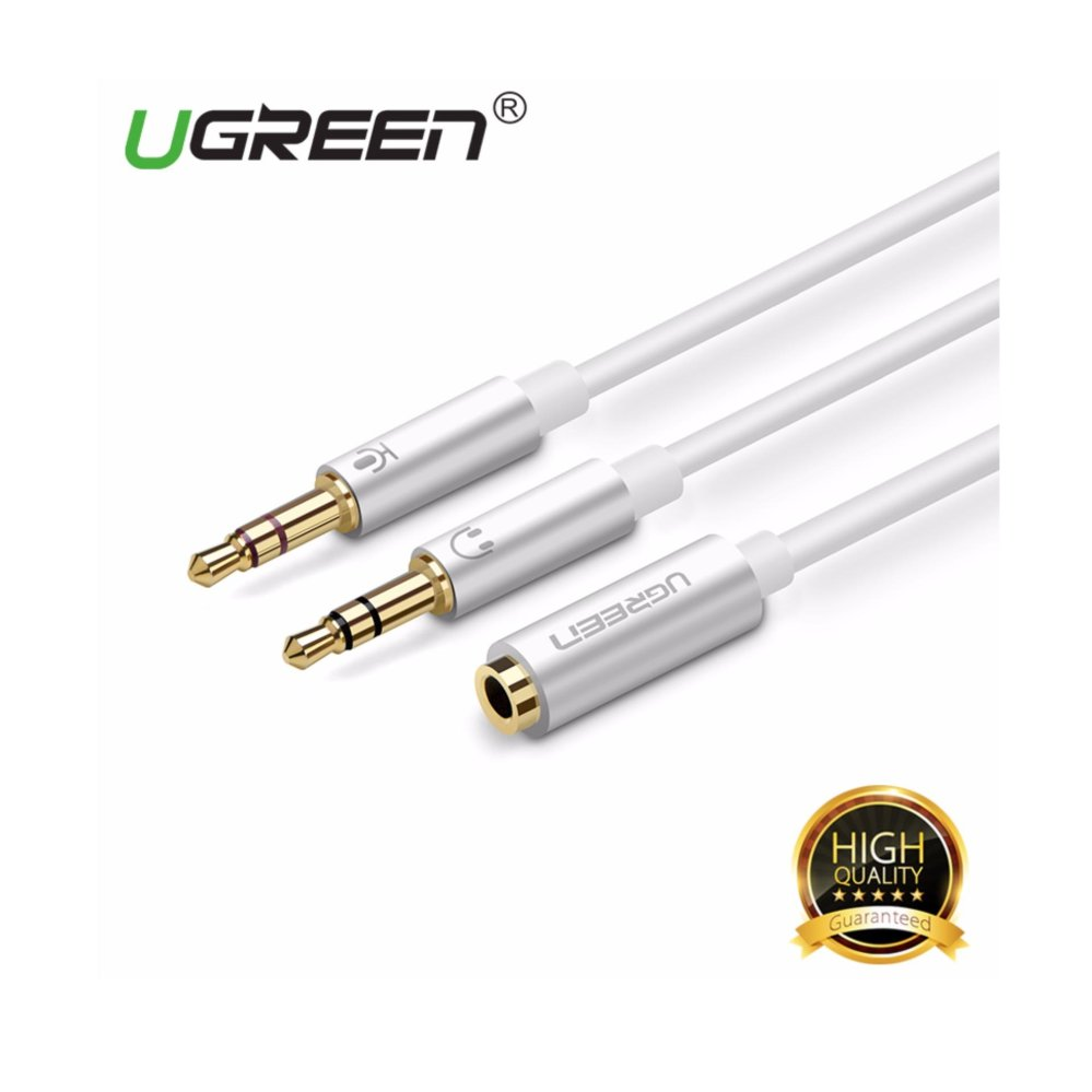UGREEN 3 5 mm untuk betina 2 jantan mikrofon y kabel headphone Audio .