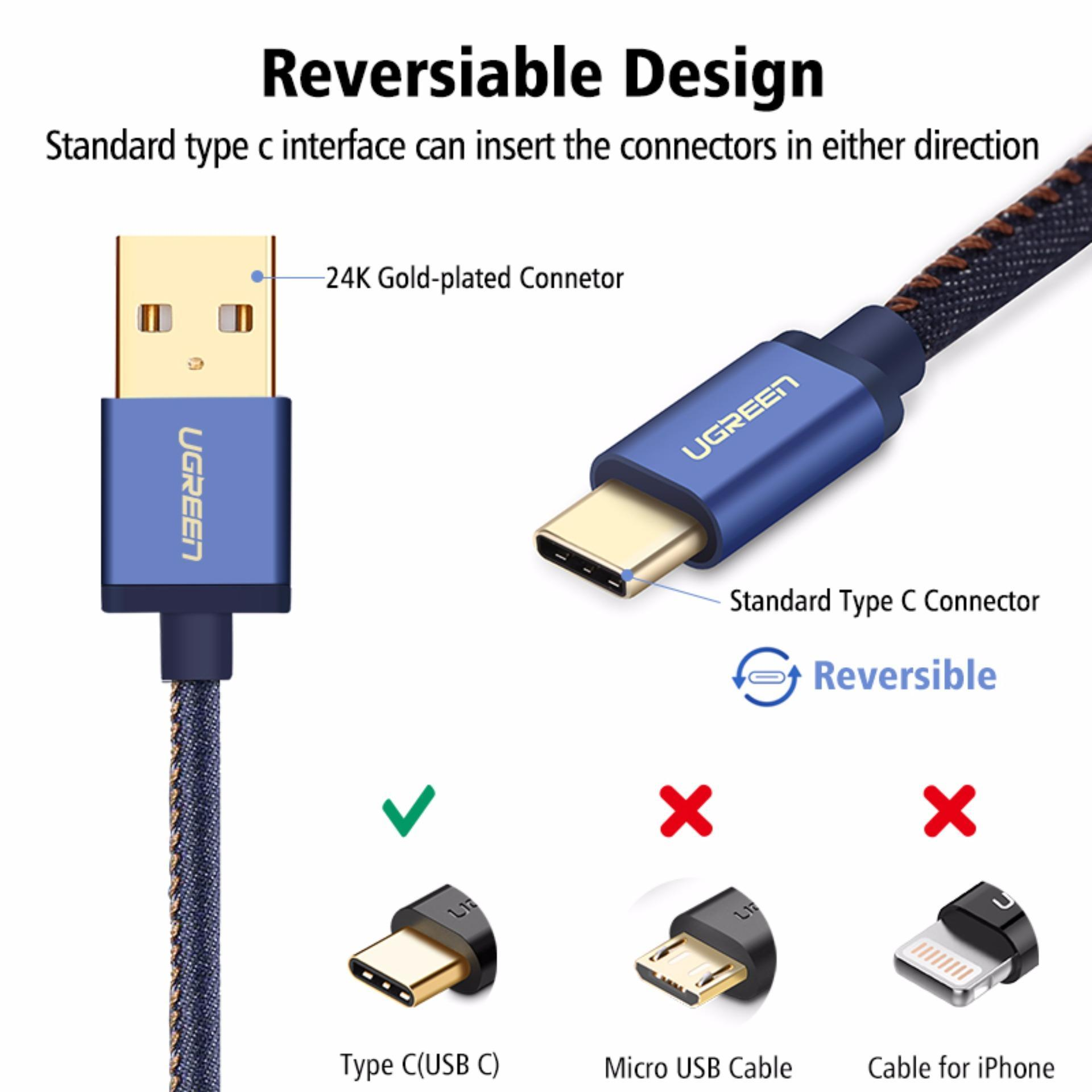 UGREEN Type C Cable Denim Braided Sync and Fast Charging Data Cable for .