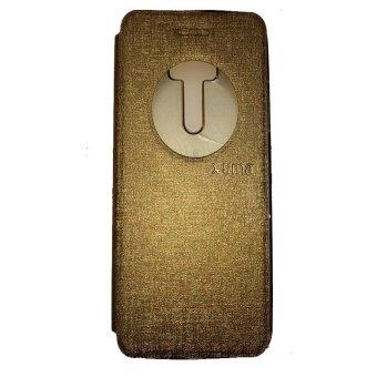Ume Asus Zenfone 2 Laser ZE550KL Ukuran 5.5 Inch / Zenfone LaserFlip Shell / FlipCover / Leather Case / Sarung HP / View - Gold