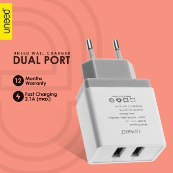 UNEED Dual USB Wall Charger Fast Charging 2.1A - UCH106 - Original .