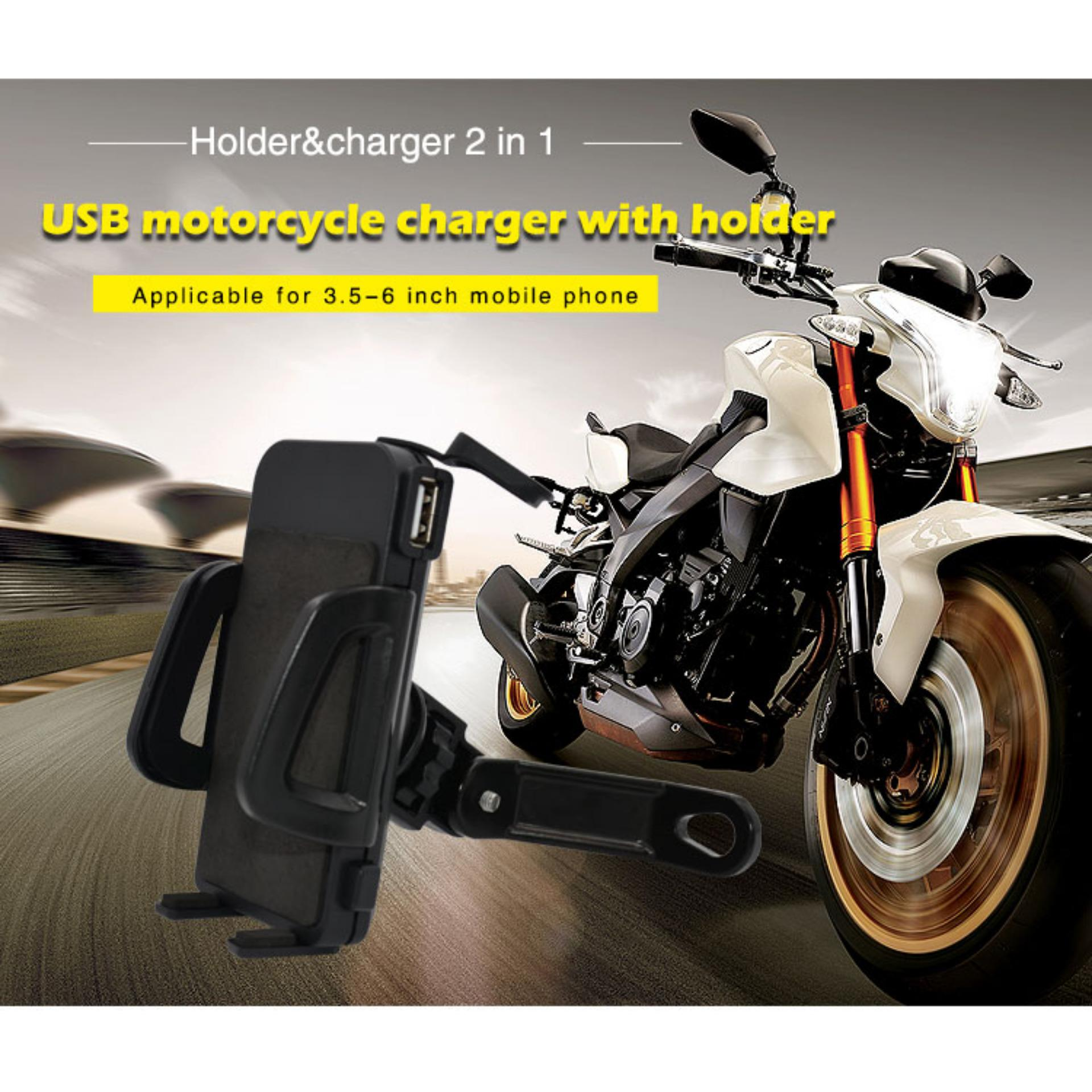 ... uNiQue Holder Motor With USB Charger Smartphone for Motorcycle - Spion Holder Motor Charger Aki Untuk ...