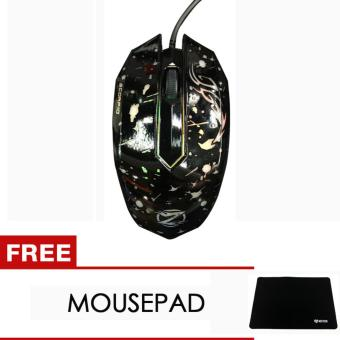Harga Unique Zornwee Mouse Kabel Model Gaming LED Lampu Untuk PC Laptop Komputer XG-68 Free Mousepad Acetech