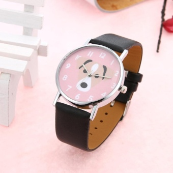 Unisex Lovely Cute Dogs Pattern PU Leather Bracelet Casual Quartz Watch(Black) - intl - 2