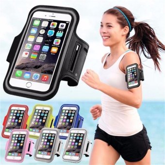 Harga Universal Mobile Phone Armband Bag Sports Running Jogging GymArmband Arm Band Case Cover Holder for iPhone 6 7 Smart Phone5Inches (Black) - intl