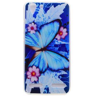 Untuk Lenovo Vibe K5 / Vibe K5 Plus berpola TPU Soft Cell Phone Cover - Biru Kupu-kupu