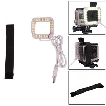 USB 20 LED Ring Lensa Tembakan Nightshot Flash Untuk Mengisi Lampu Cahaya Baru Gopro Hero 4/3 + / 3 Case Perumahan Standar Tahan Air Andoer - 5