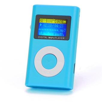 USB Mini MP3 Player LCD Screen Support 32GB Micro SD TF Card Blue - intl