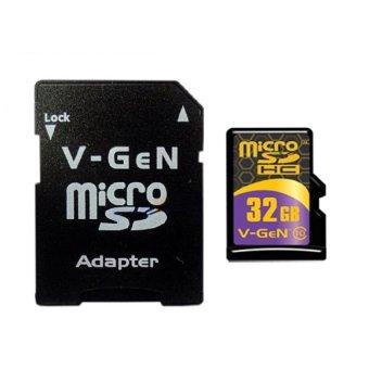 v-gen kartu memori micro sd 32gb class 10 + adapter