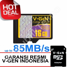 V-Gen MicroSDHC 16GB Turbo - 85MB/s Class10 USH-1 Micro + Gratis SD Adapter Memory Card