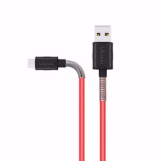 VIVAN FM100 1M Spring Micro USB Data Cable for Android 2.4A - Black + Red