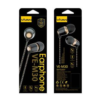 Vivan Headset VE-M30 Metal Ceramic Texture Wired Black+Golden - 4