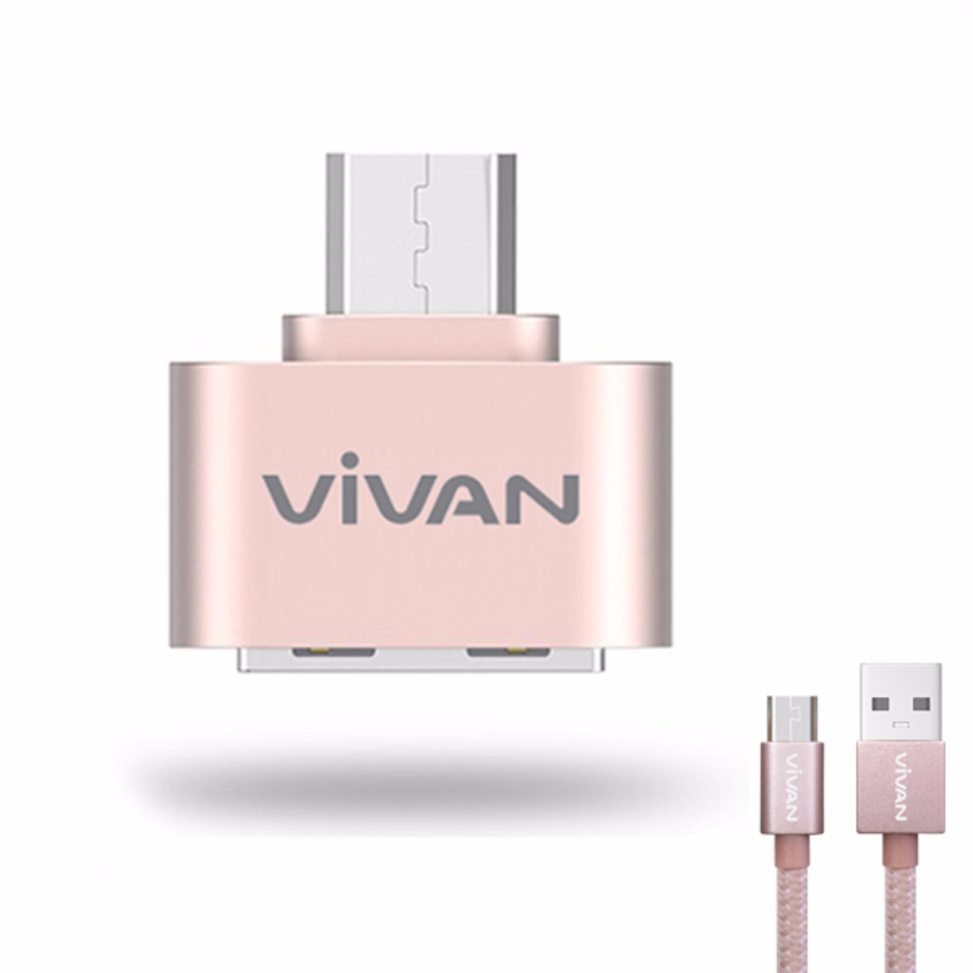 Vivan VOC-U20 OTG Micro USB Adapter with Data Cable Rose Gold