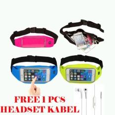Waterproof Sport Waist Bag for Handphone Android+Free Headset Kabel for Sony Xperia E3/E3 Dual - Merah