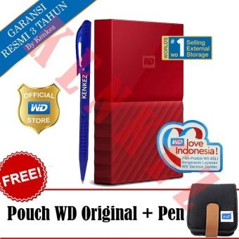 WD My Passport New Design 1TB/2.5Inch/USB3.0 - Merah + Free Pouch + Pen