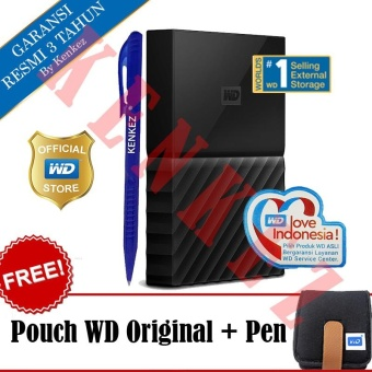 WD My Passport New Design 2TB/2.5Inch/USB3.0 - Hitam + Free Pouch + Pen