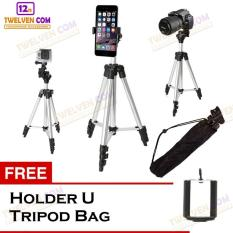 Weifeng 3110 Tripod Stainless with 3x Extend Leg - Suite For Smartphone & Camera - Black + Free Holder U + Tripod Bag