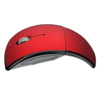 Wireless Mouse dan arc dilipat lipat USB 2.0 receiver untuk pc laptop Merah - 3
