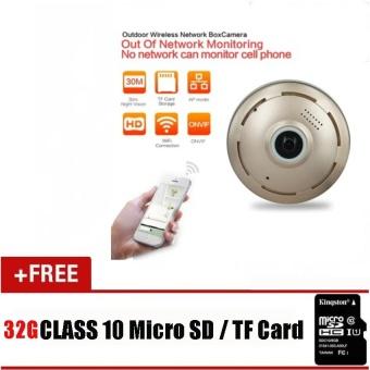 dengan 32g TF CARD HD 960 P 360 Mata IP Kamera Keamanan 360 Derajat Mini CCTV