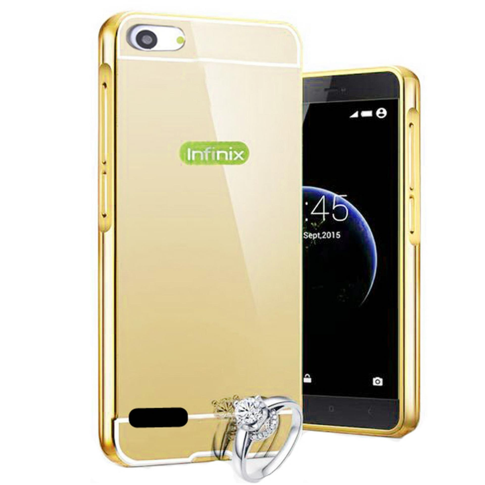 X Case Mirror Aluminium Bumper For Infinix Hot 3 X553 Free Tempered Glass - Gold ...