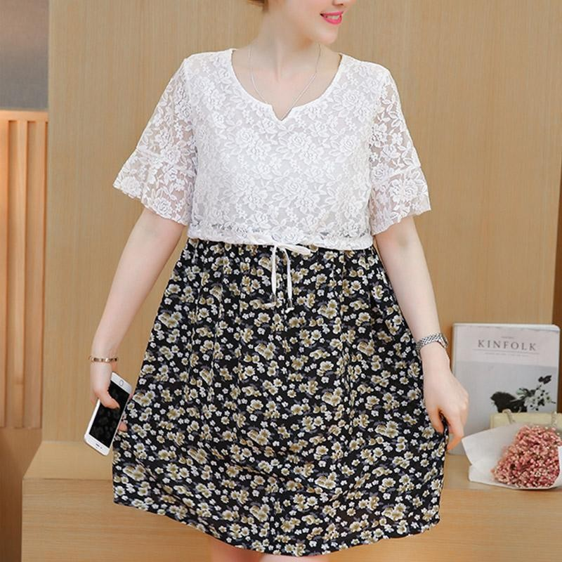 XIALU Maternity Elegant V-neck Print Short Sleeve Lace Regular Long Dress - intl