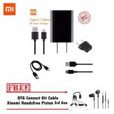 Xiaomi Charger Type C Original + Gratis Otg Connect Kit Cable + Handsfree Piston 3rd Generation