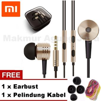Xiaomi Earphone Piston Original 2nd Gen Handsfree/Headset - Gold + Pelindung Kabel Spiral +