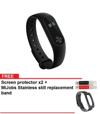 Xiaomi Mi Band 2 Smart Bracelet Sports Fitness Tracker - Hitam + Gratis MiJobs Replaceable Stainless Steel Wrist Strap + Screen protector