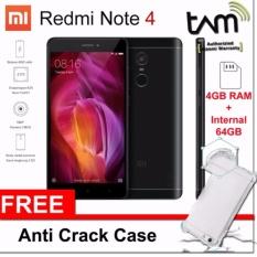 Xiaomi Redmi Note 4 Snapdragon [4GB/64GB] - Black GRS Resmi TAM + Free AntiCrack Softcase