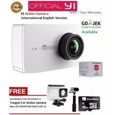 Xiaomi Yi 2nd Gen Action Camera With 4k - Putih - International Version + Gratis Tongsis + MicroSD Strontium 32 GB + Waterproof case