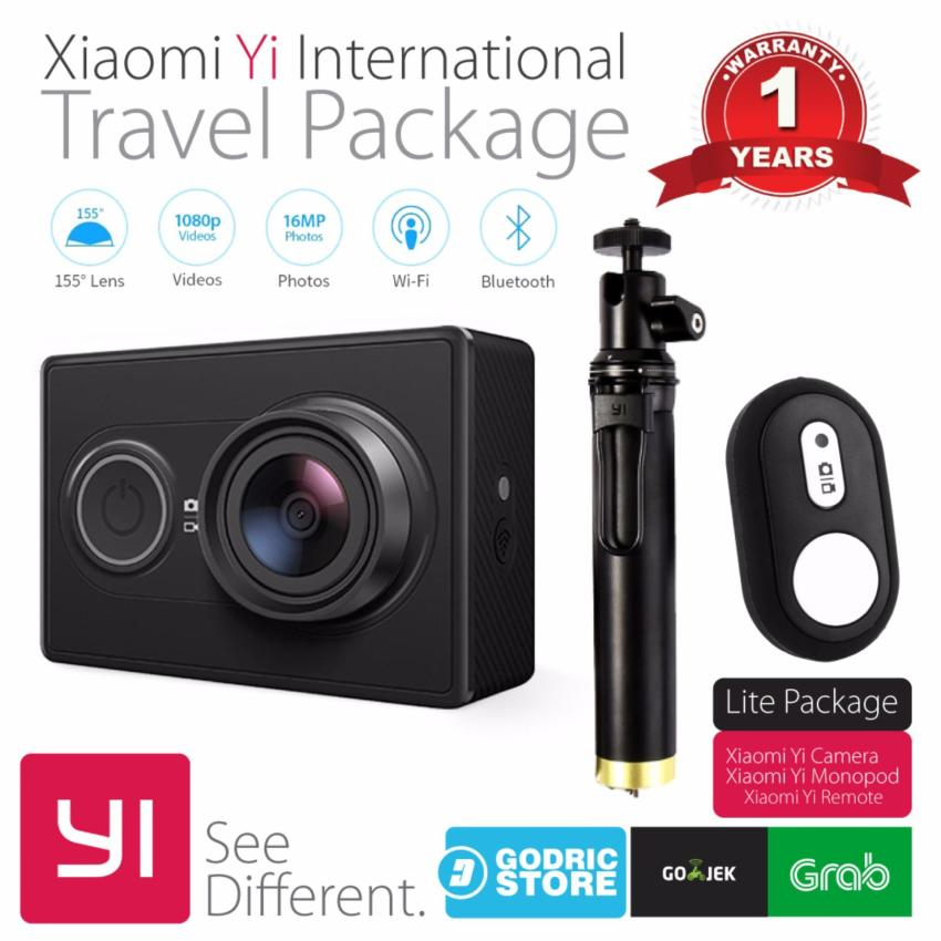 Xiaomi Yi International Paket Travel Action Camera + Tongsis Shutter - Hitam