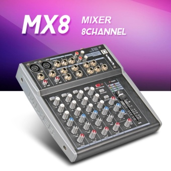 Xtuga MX8 8Channels 3-Band EQ Audio Music Mixer Mixing Console with USB XLR LINE Input 48V Phantom Power for Recording DJ Stage Karaoke - intl