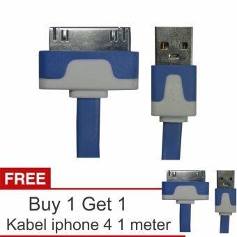 Yumoto Kabel Data Pipih iPhone 4/4S 1 Meter + Buy 1 Get 1
