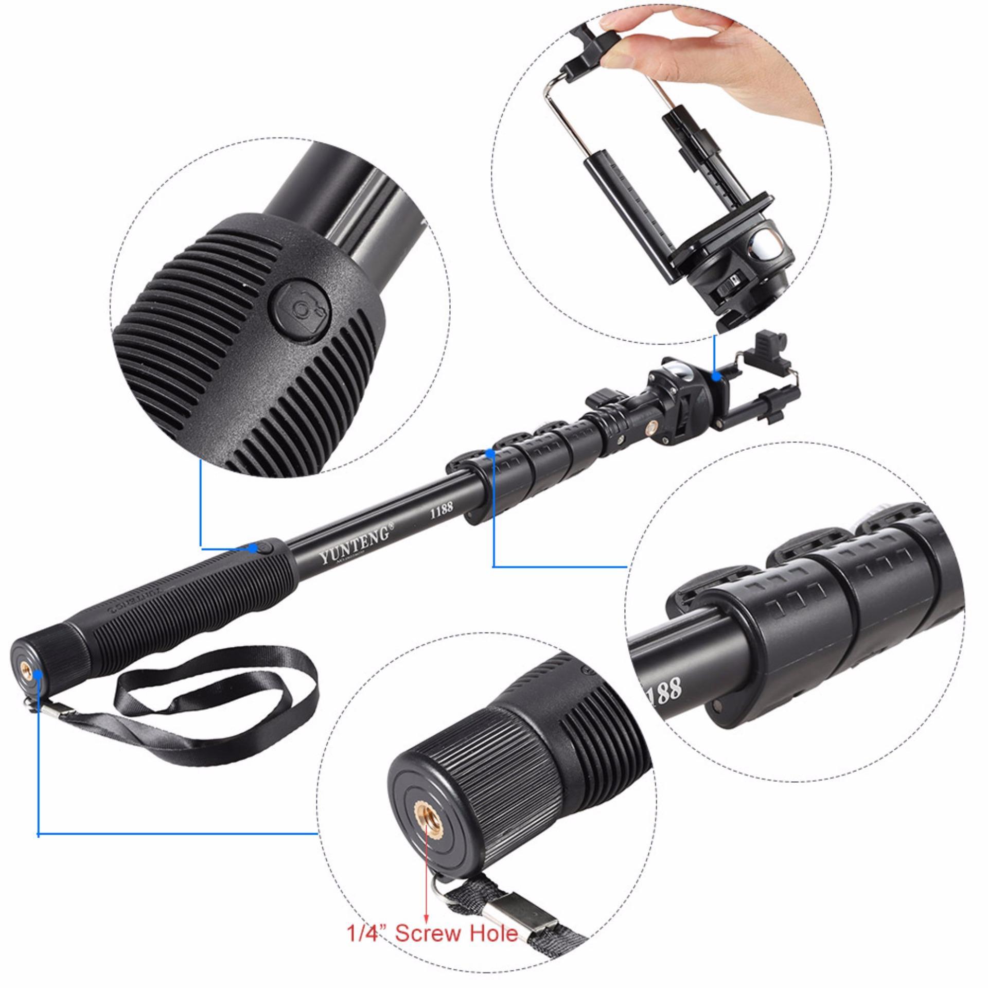 Yunteng Yt 1288 Tongsis Selfie Stick Monopod Uholder Lensasuperwide Source · Yunteng YT 1188 Tongsis Kabel Monopod Built in AUX Cable and KEYSHUTTER Hitam