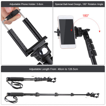 Gratis Gopro Source Yunteng YT 1188 Tongsis Selfie Stick Monopod Built in AUX .