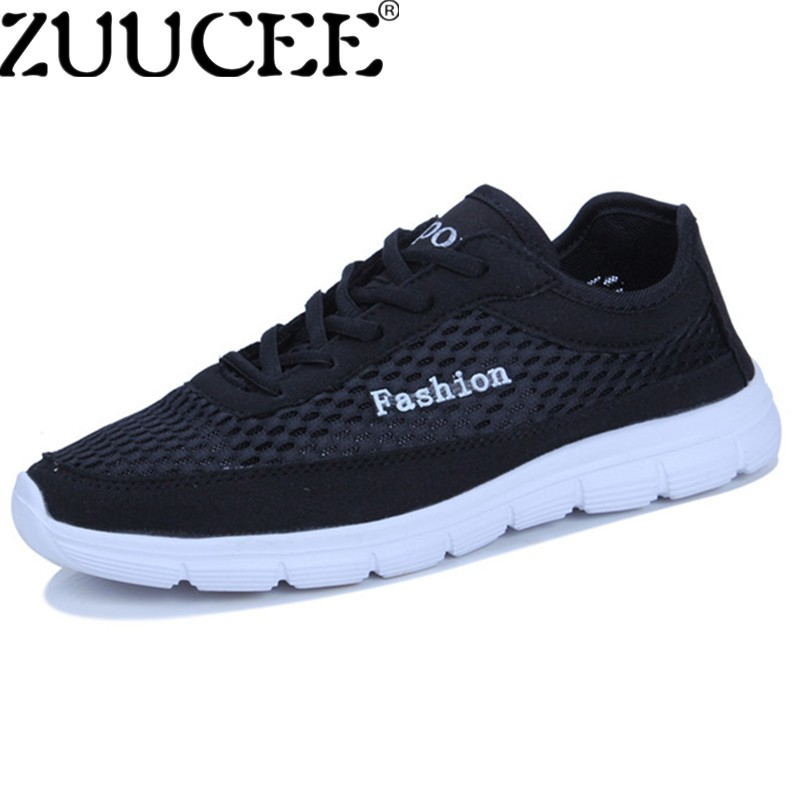 ZUUCEE Men Big Size Shoes Casual Breathable Sports Shoes Laces Low-cut Net Cloth Shoes (black) - intl
