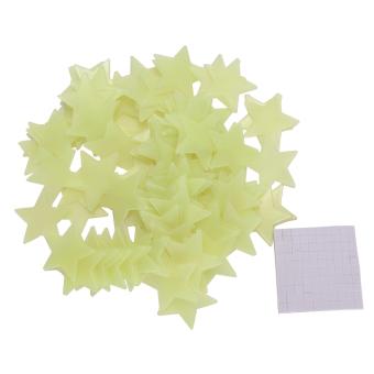 harga 100pcs Dinding rumah Cahaya Green Glow In The Dark Star Stiker Decal Kamar Bayi - intl Lazada.co.id