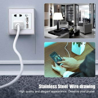 10A Universal Dual USB Dinding Soket Panel AC 110-265 V Outlet Power Charger dengan Switch Silver-Intl