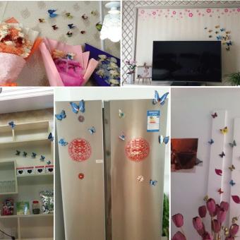 ... 12 buah 3D PVC Kupu-kupu Magnet Kerajinan Dinding Stiker Rumah Dekorasi Biru - 3 ...