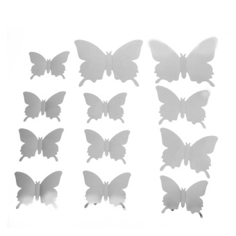 12pcs 3D Mirror Butterfly Wall Stickers Living Room Bedroom Wall Decor(Silver) - intl