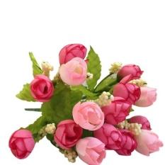 15 Heads Artificial Rose Silk Fake Flower Leaf Home Decor Bridal Bouquet Pink - intl