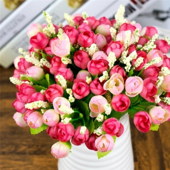 15 Heads QQ Rose Buds Artificial Flowers Artificial SimulationFlowers Home Party Wedding Decoration Plant Potted Plants - intl