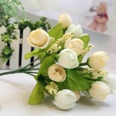 15 Kepala Buatan Mawar Sutra Palsu Bunga Daun Dekorasi Rumah Buket Pengantin Putih