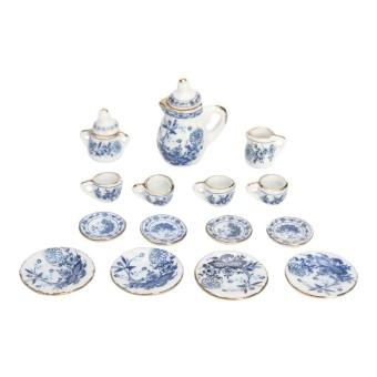 15 Pcs Miniatur Rumah Boneka 1/12 Tempat Makan Biru Bunga Keramik Set Cerek Teh