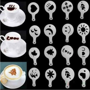 16 Set Cetakan Kopi Kue Coffee Printing Mould Latte Art Barista