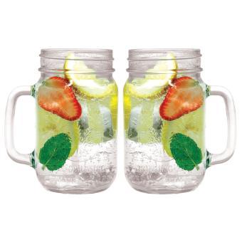 2 PCS Mug Harvest Time Drinking Jar Gelas Cafe Bening 450 ml