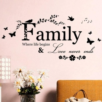 2015 Family Flower Butterfly Art Vinyl Quote Wall Stickers WallDecals Home Deco - intl - 5