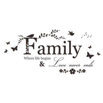 2015 Family Flower Butterfly Art Vinyl Quote Wall Stickers WallDecals Home Deco - intl - 2