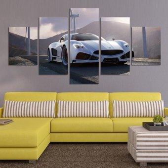 harga 2017 5 buah hitam dan putih ruang tamu modern minimalis lukisandekoratif mobil sofa murah lukisan lukisan di atas kanvas Lazada.co.id