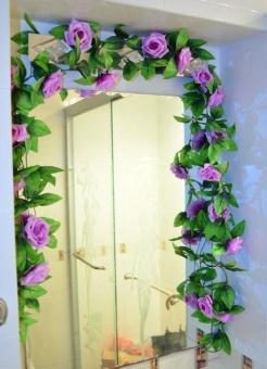 240 Cm 9 Rose Bunga Mawar Merambat Palsu Buatan Garland Ivy Vine Hanging  Garland untuk Dekorasi 6dfb47d08b
