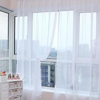 360DSC 2 Pcs Solid Warna Transparan Voile Tulle Window Tirai Layar Jendela Tipis 100*200